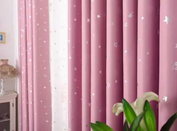 Ster gordijnen roze