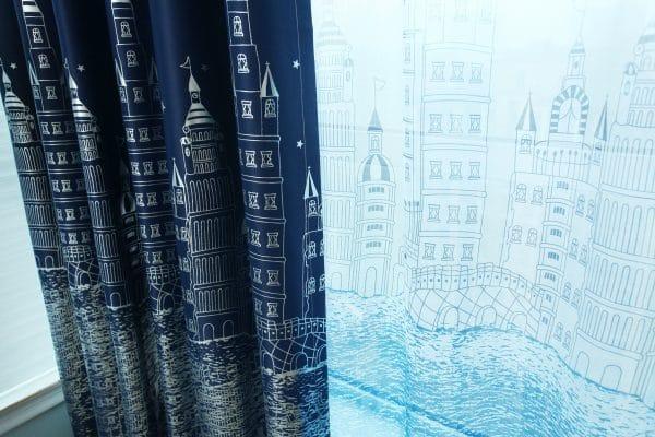 Blauw kasteel gordijn
