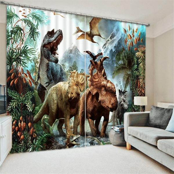 Dinosaurus 3D gordijnen bos