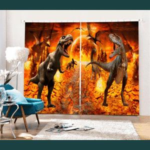Dinosaurus 3D gordijnen lava