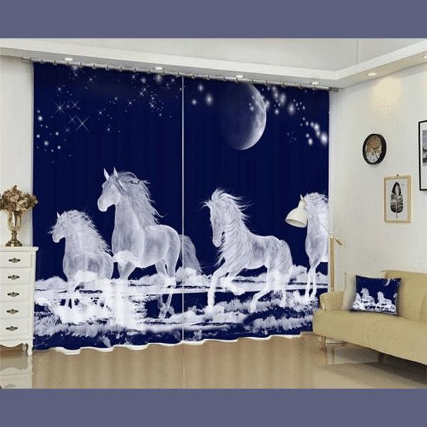 Witte paarden gordijn