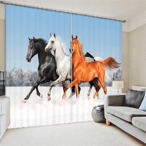 Paarden 3D gordijnen
