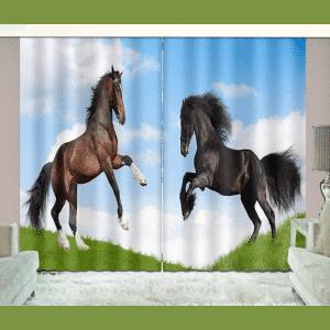 Stijgende Paarden 3D gordijnen