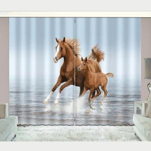 Paarden galop 3D gordijnen