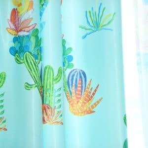Cactus gordijnen turquoise