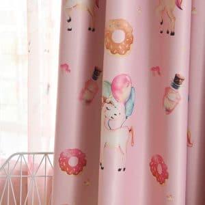 Eenhoorn gordijnen kleur roze