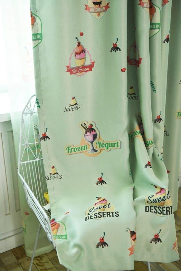 ijsjes gordijn groen