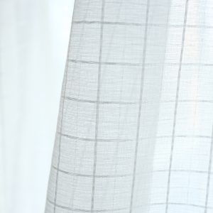 Vitrage wit raster motief gordijn