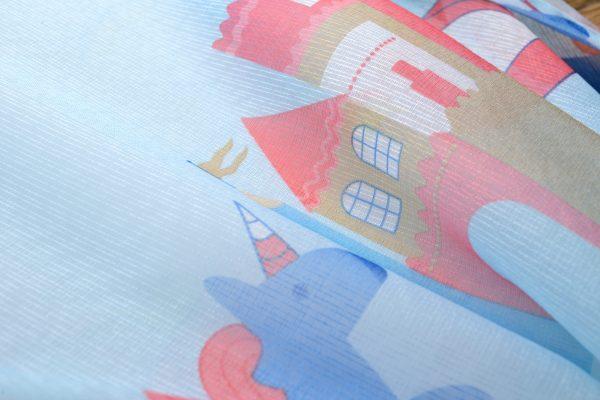 Blauw kasteel paradijs gordijn