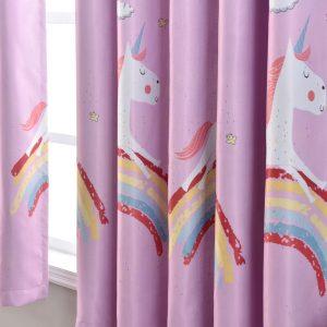 Regenboog&Eenhoorn gordijnen roze