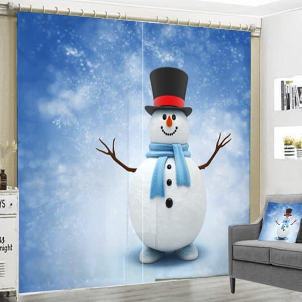 Sneeuwpop gordijn