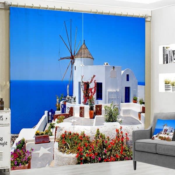 Grieks Huisje foto gordijn