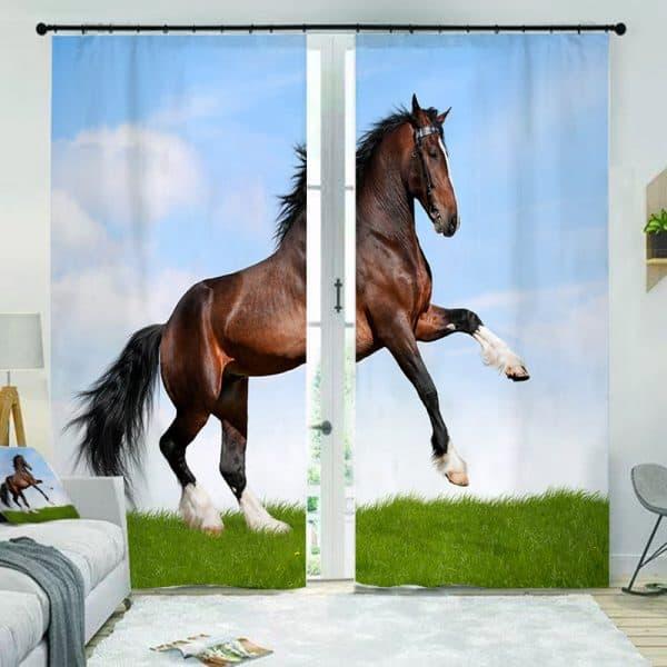 Paarden foto gordijn