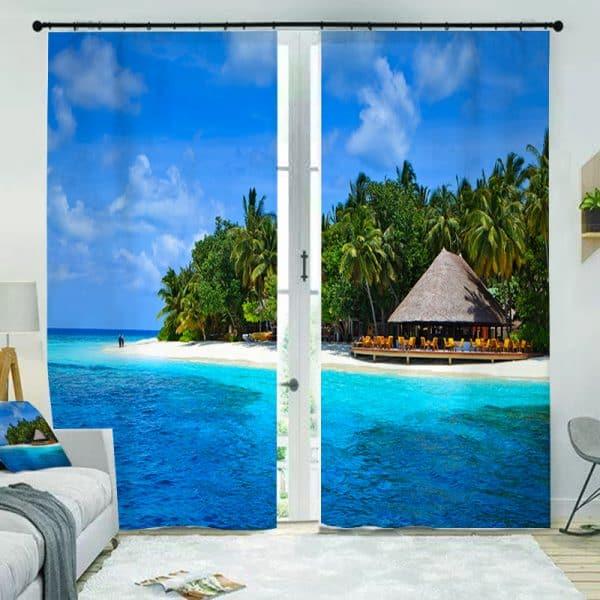 Strand resort foto gordijn