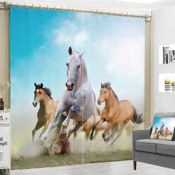 paarden in galop foto gordijn
