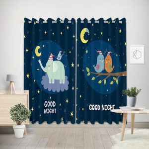 "Olifanten & Vogels gordijnen kinderkamer ""Good Night"