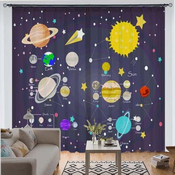 ruimte planeten gordijnen