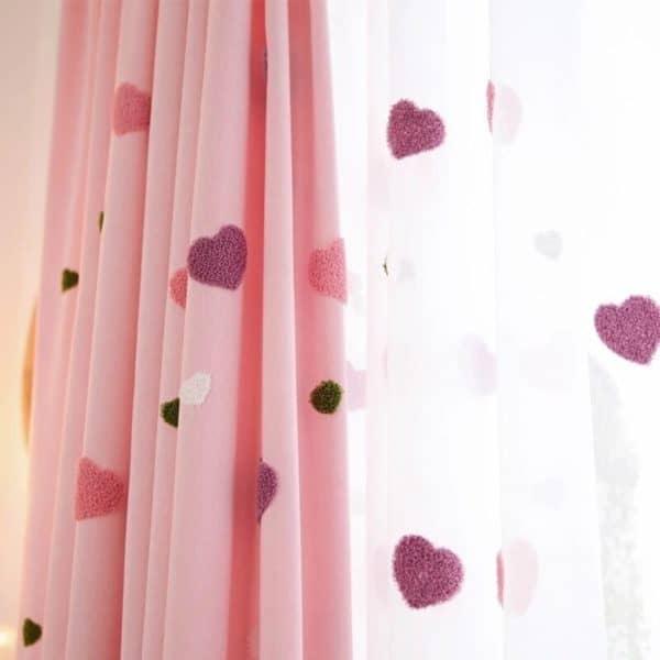 Hartjes gordijnen roze - Leukekindergordijnen.nl