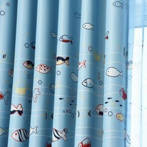 Vissen gordijnen kleur blauw